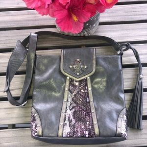 NEW Miss Me crossbody purse grey pewter w/BLING!